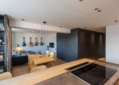 Stanovanje ljubitelja kitar - pogled iz kuhinje